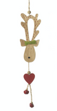 Wooden Hanging Reindeer decoration - Green bow