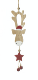 Wooden Hanging Reindeer Decoration - Red Hat