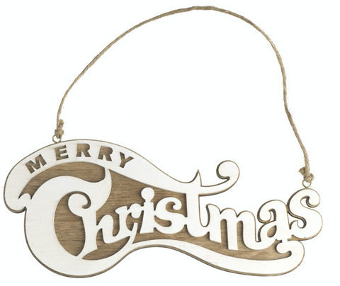 Wooden Merry Christmas Sign, 3D effect