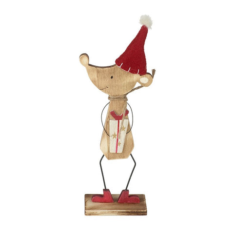 Wooden Mouse with Christmas Present Decoration