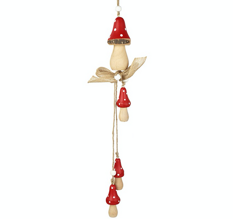 Wooden, Hanging Red and White Toadstoods