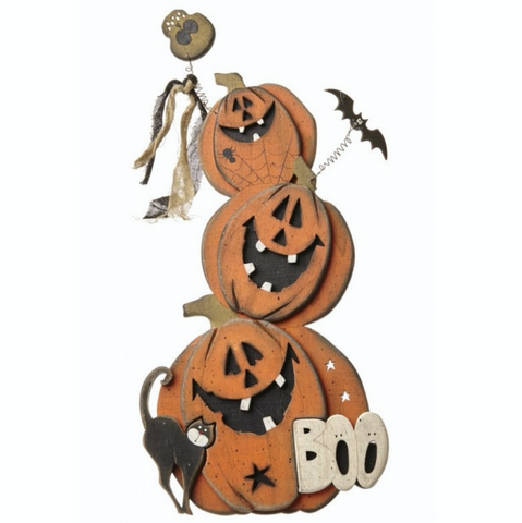Wooden Shabby Chic Pumpkin Boo Sign - Small