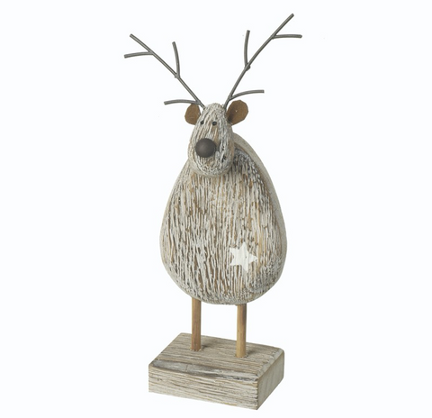 Wooden Standing Deer with star detail