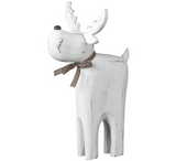 Wooden, White Washed, Reindeer (Large)