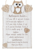 Woody Owl Bathroom Rules Plaque, close up
