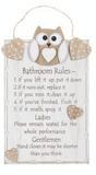 Woody Owl Bathroom Rules Plaque