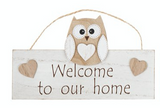 Woody Owl, Welcome to our home, hanging sign