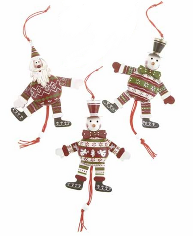 Wooden, Santa and Snowmen Jumping Jacks