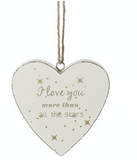 Shabby Chic, Hanging Wooden Heart - I Love you more than all the Stars