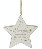 Shabby Chic, Hanging Wooden Star - I Love you more than all the Stars