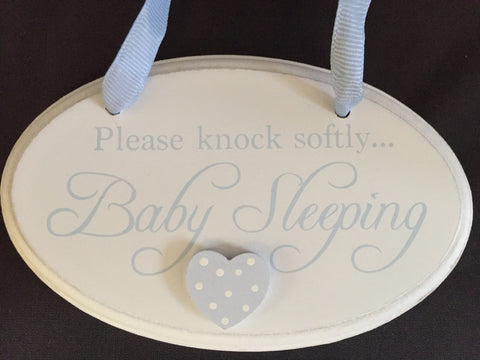 Please knock softly baby sleeping, hanging plaque, close up