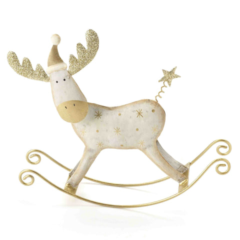Christmas, cream metal rocking reindeer