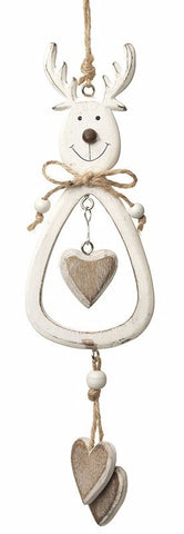 White Hanging Wooden Reindeer With Hearts