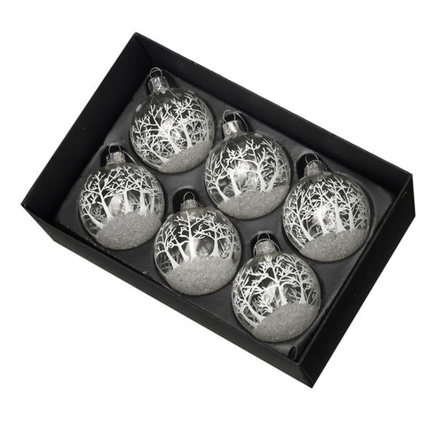 Baubles With Frosted Christmas Scene