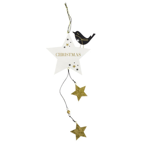 Wooden Hanging Star with Bird