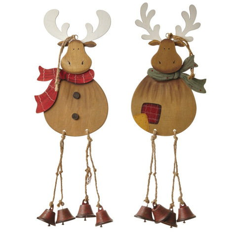 Hanging Wooden Reindeer with Red or Green Scarf