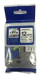CINTA CIFRA para ROTULADORA BROTHER tz2-231 12mm NEGRO sobre BLANCO