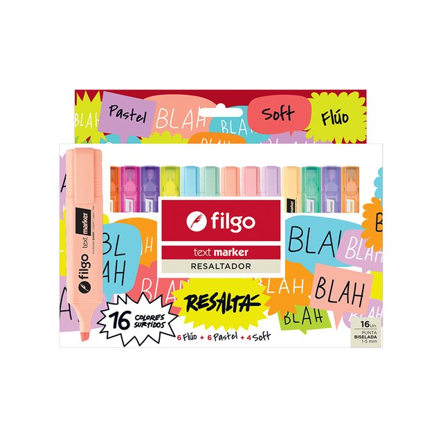 SET RESALTADOR FILGO TEXT MARKER X 16 COLORES
