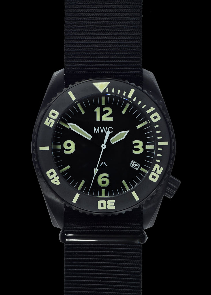 MWC Deep Dive 100ATM / 3,340ft Water Resistant Military Divers Watch in PVD Stainless Steel Case with Helium Valve (Quartz)