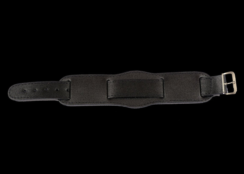 Black 1950s Pattern Leather Military Watch Strap