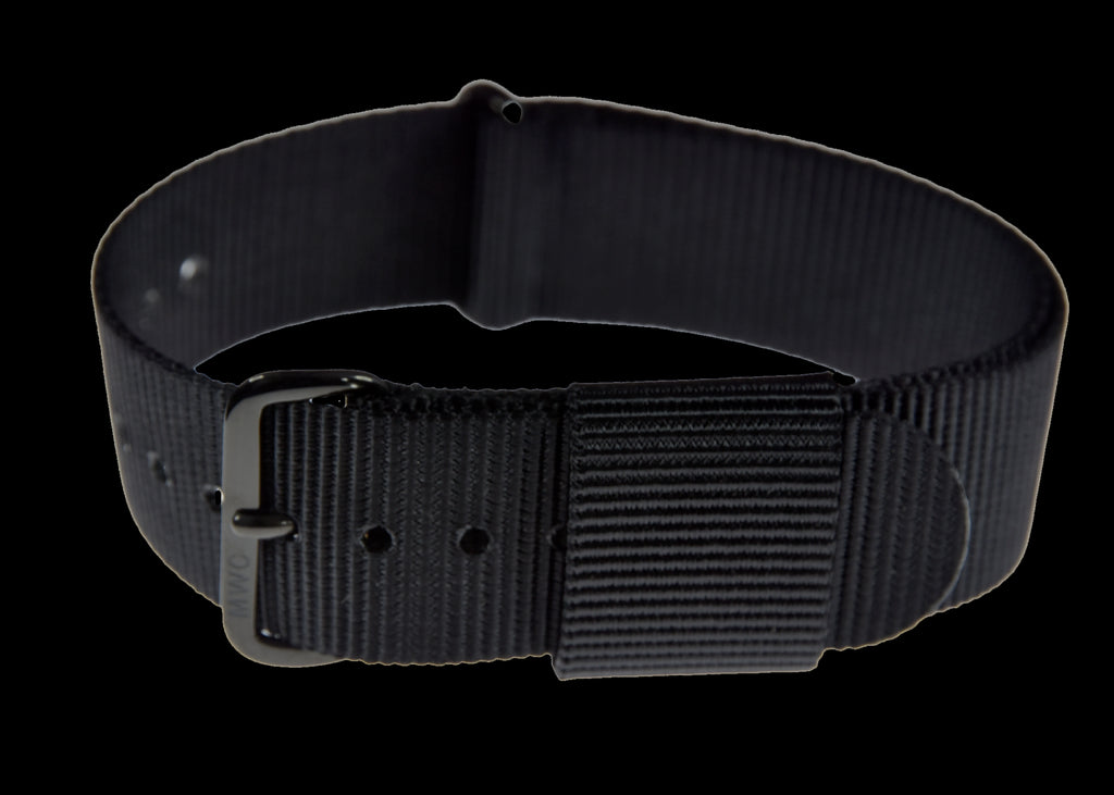 20mm 1970s/80s U.S Pattern Black Military Watch Strap with Black PVD Buckles
