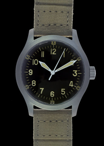 MWC G10 LM Stainless Steel Military Watch (Grey Strap) With Date Window