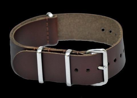20mm Brown Leather NATO Military Watch Strap