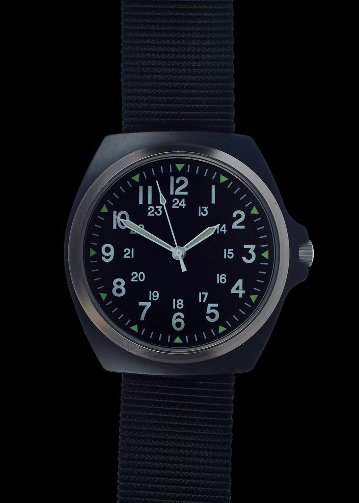 1980s U.S pattern Military Watch  in Matte Black on a Nylon Webbing Strap