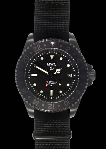 MWC 300m Water Resistant GMT Dual Timezone Military Watch in PVD Stainless Steel Finish