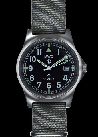 MWC G10 LM Stainless Steel Military Watch on a Grey NATO Strap with Date Window (Plain Caseback For Personalisation)