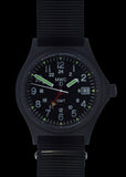 MWC GMT (Dual Time Zone) 100m Water resistant Military Watch in Black PVD Steel Case with Screw Crown