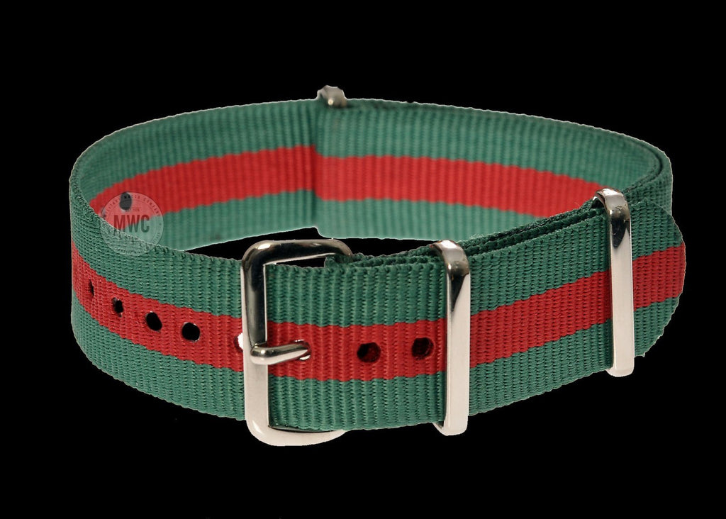 20mm Green and Red NATO Military Watch Strap