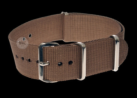 Retro Pattern 18mm Canvas Military Watch Strap in Khaki