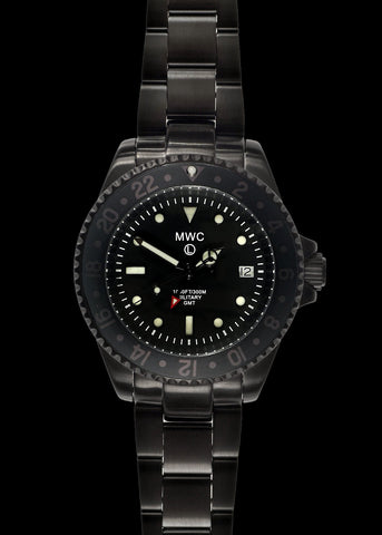 MWC GMT 100m / 330ft Water resistant Military Watch in Black PVD Steel Case with Screw Crown