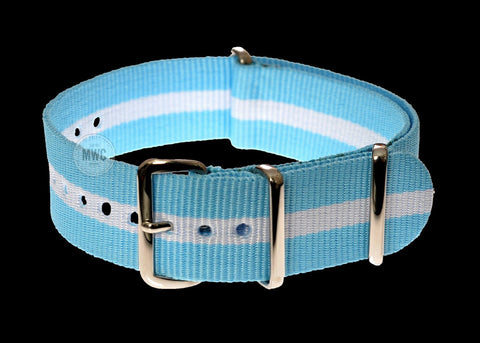 20mm Blue and White NATO Military Watch Strap / Argentina, Bavaria (Bayern), Israeli Colors
