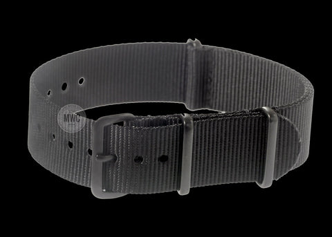 24mm Grey NATO Military Watch Strap with Stainless Steel Buckles