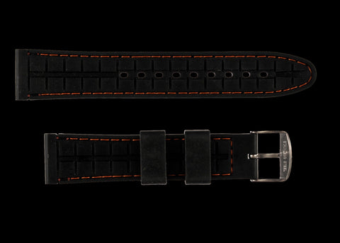 MWC 20mm Silicone Divers Watch Strap with Orange Detailing