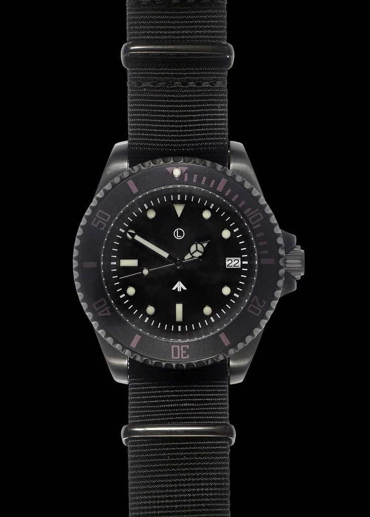 MWC 24 Jewel Non Reflective PVD 300m Automatic Military Divers Watch