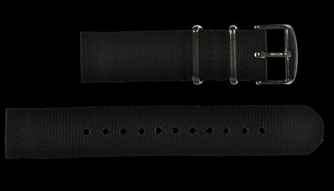 2 Piece 20mm Black NATO Military Watch Strap in Ballistic Nylon with Stainless Steel Fasteners