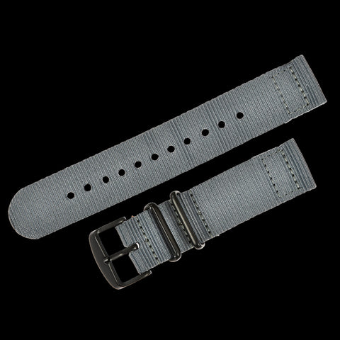 2 Piece 18mm Grey NATO Military Watch Strap in Ballistic Nylon with Black PVD Steel Fasteners