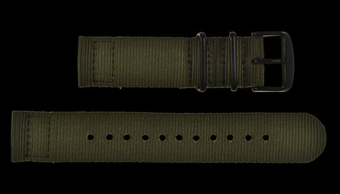 2 Piece 22mm Olive NATO Military Watch Strap in Ballistic Nylon with Black PVD Fasteners
