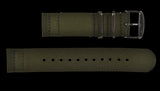 2 Piece 20mm Olive NATO Military Watch Strap in Ballistic Nylon with Stainless Steel Fasteners