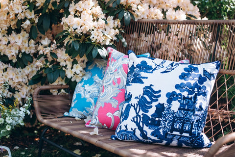 one hundred stars giant willow and plaster roses cushions in the garden