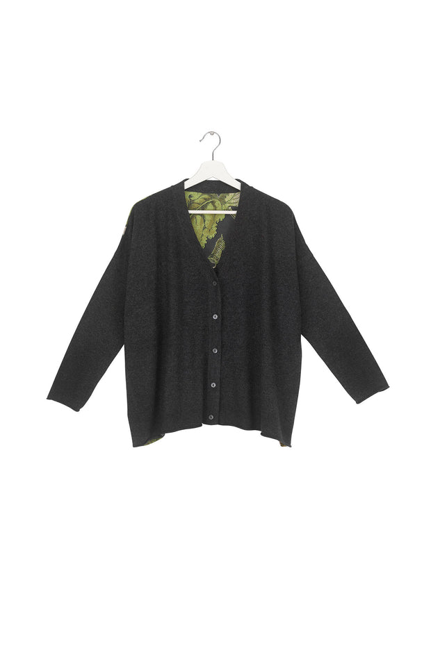 Passion Flower Charcoal Oversized Cardigan