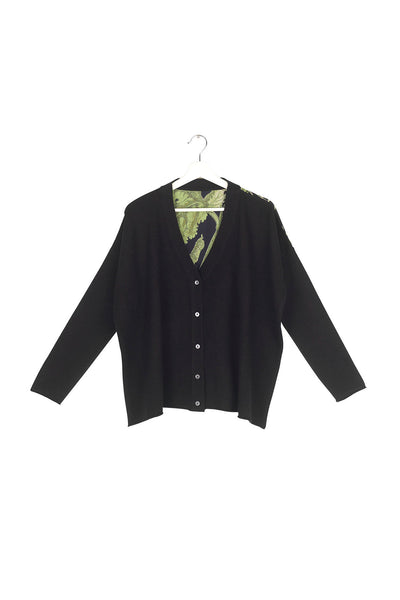 Passion Flower Black Oversized Cardigan