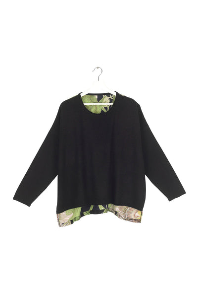 Passion Flower Black Oversized Jumper