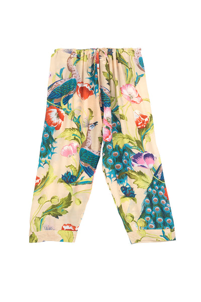 Peacock and Poppies Sand Cropped Lounge Pants