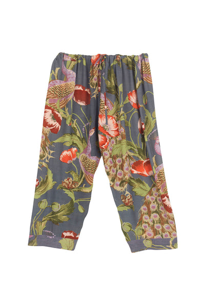 Peacock and Poppies Grey Cropped Lounge Pants