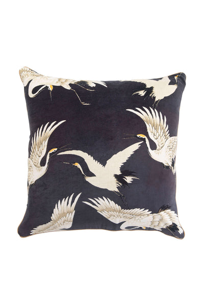 Stork Charcoal Grey Square Velvet Cushion