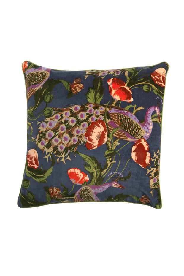 Peacock and Poppies Grey Velvet Cushion